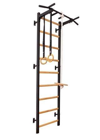 Drabinka gimnastyczna z drewnianymi szczebelkami z drążkiem 311B + akcesoria BenchK 240 x 67 cm