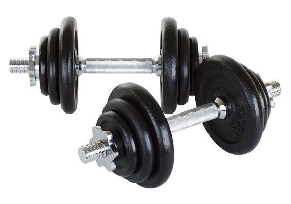 Hantle żeliwne 2 x 10 kg Hop-Sport + rękawiczki neoprenowe
