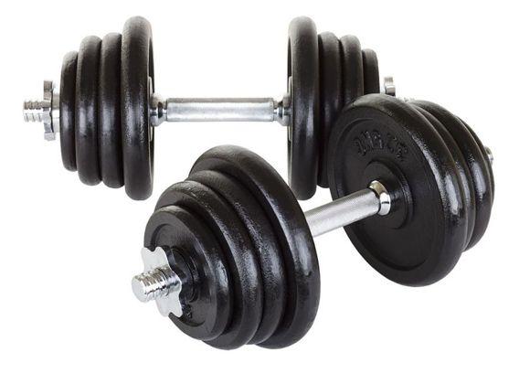 Hantle żeliwne 2 x 20 kg Hop-Sport + rękawiczki neoprenowe