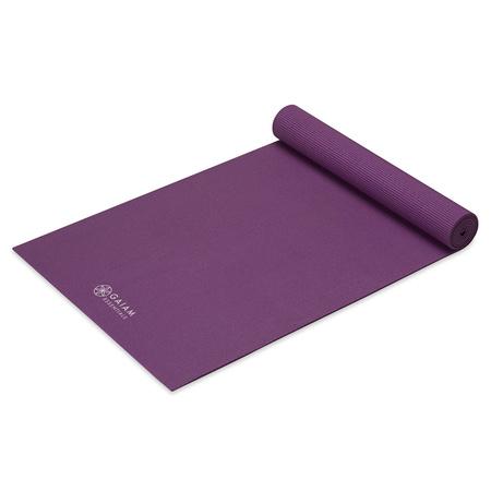 Mata z paskiem do jogi Essentials Gaiam 173 x 61 x 0,6 cm fioletowa