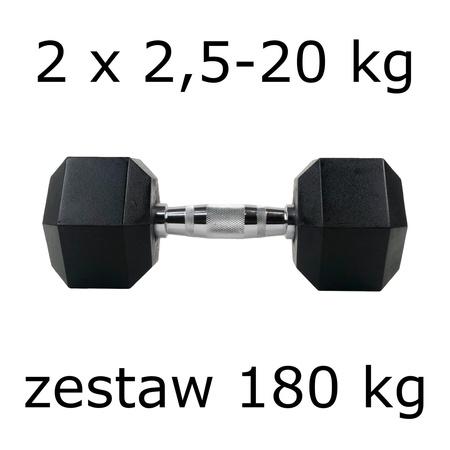 Zestaw hantli hex 2 x 2,5-20 kg (180 kg)